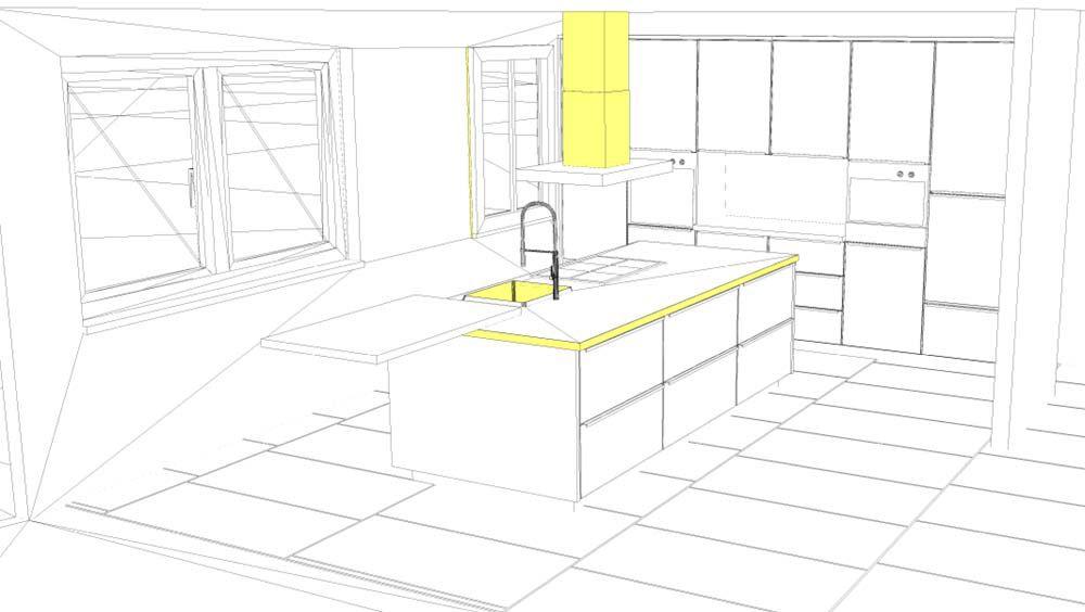 3D-Küchenplanung für eine Kücheninsel
