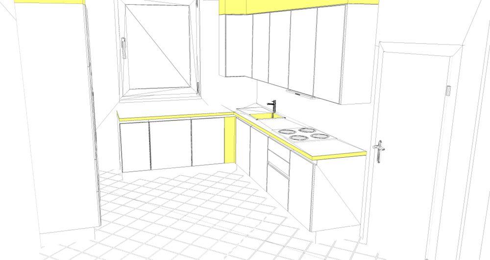 3D-Küchenplanung für eine L-Küche