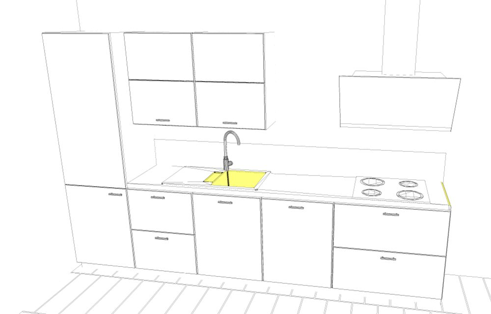 3D-Küchenplanung für eine Single-Küche