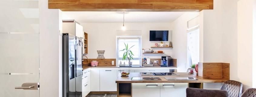 Zweizeilige L Küche in mattweiß (1)