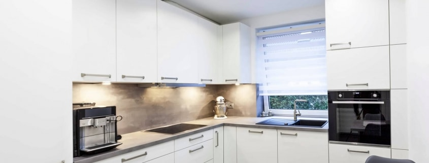 Moderne Küche in L-Form mit Edelstahloptik (1)