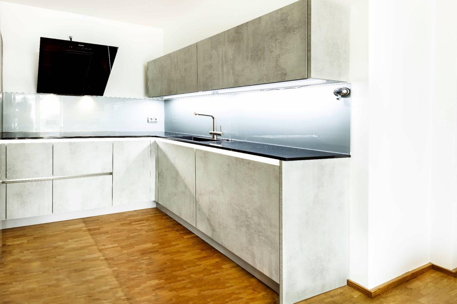 U-Küche in Beton-Optik (3)